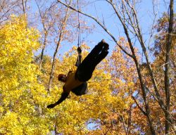 Clive on the zip line at our ropes course at the Claggett Center